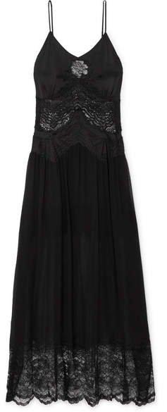 Lace-trimmed Satin And Chiffon Midi Dress - Black