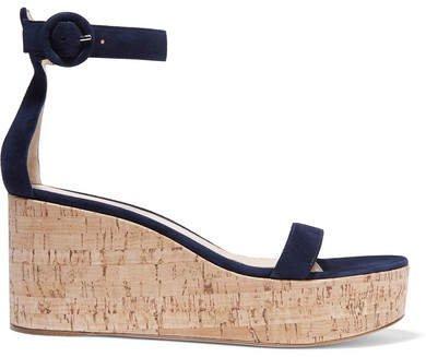 Portofino 45 Suede Wedge Sandals - Navy