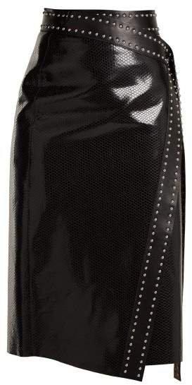 Python Effect Leather Wrap Skirt - Womens - Black