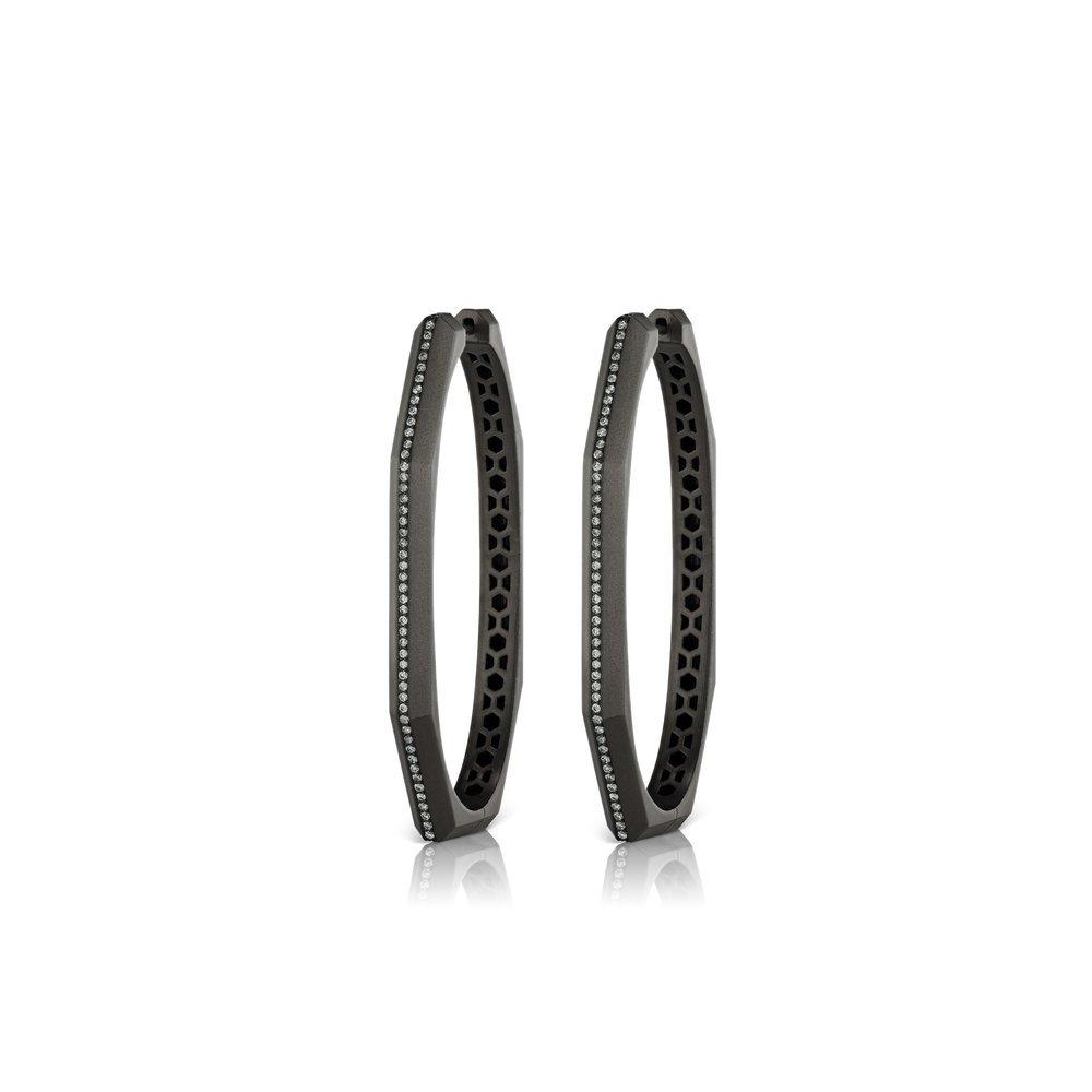 Otto Ovale Hoops in Colored Rhodium — Sorellina Jewelry