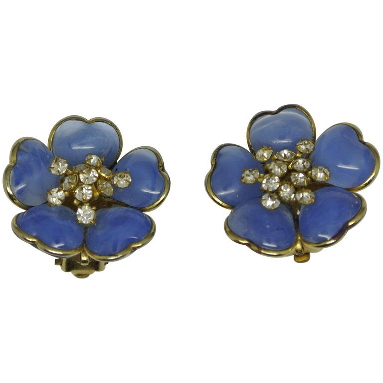 Vintage Chanel Gripoix Poured Glass Blue Flower Earrings For Sale at 1stdibs