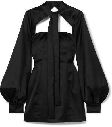 Cutout Satin Mini Dress - Black