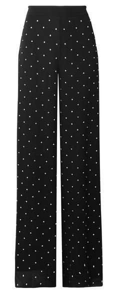 Twinkle Crystal-embellished Georgette Wide-leg Pants - Black