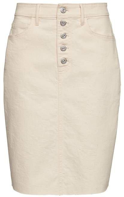 Button-Fly Denim Skirt