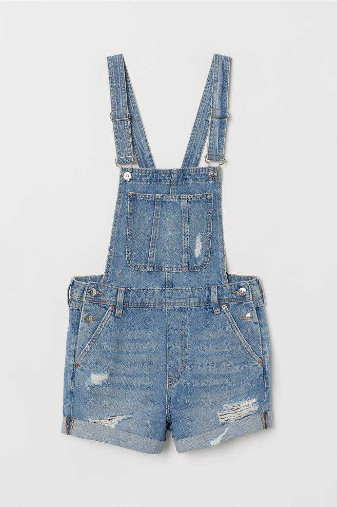 Denim dungaree shorts - Light denim blue -   H&M GB