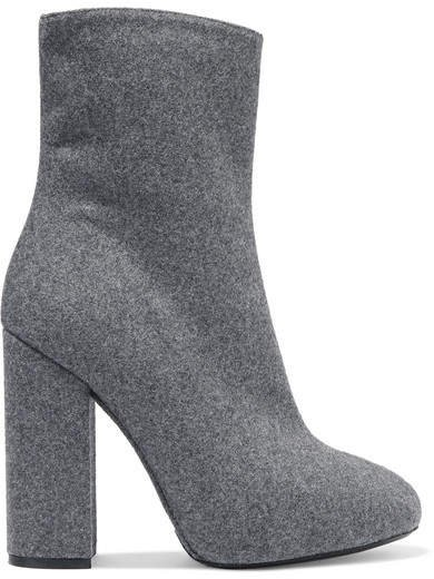 Wool And Silk-blend Felt Ankle Boots - Gray