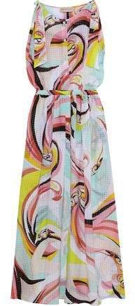 Bow-detailed Printed Burnout Crepe De Chine Maxi Dress