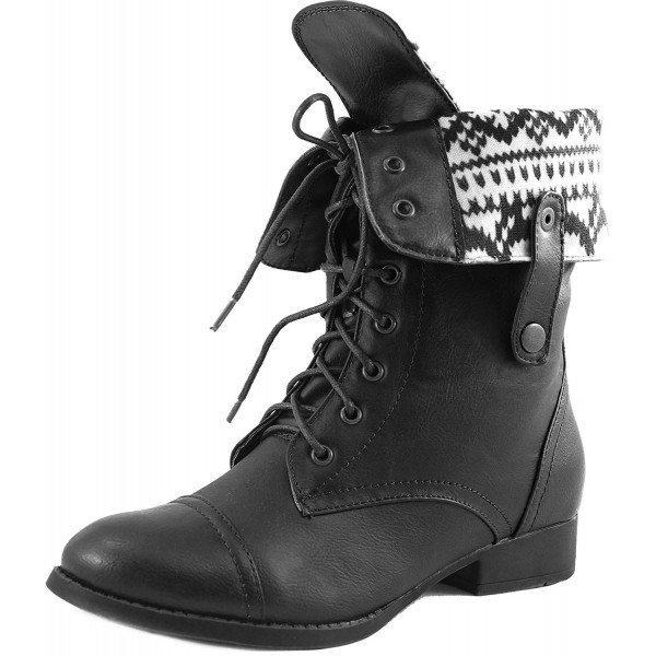 DbDk Elegant Womens Faux Leather Combat Boot - CP11NFOCAVL
