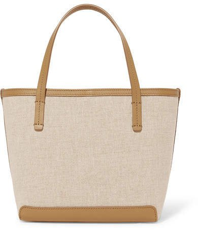 Park Small Leather-trimmed Canvas Tote - Beige