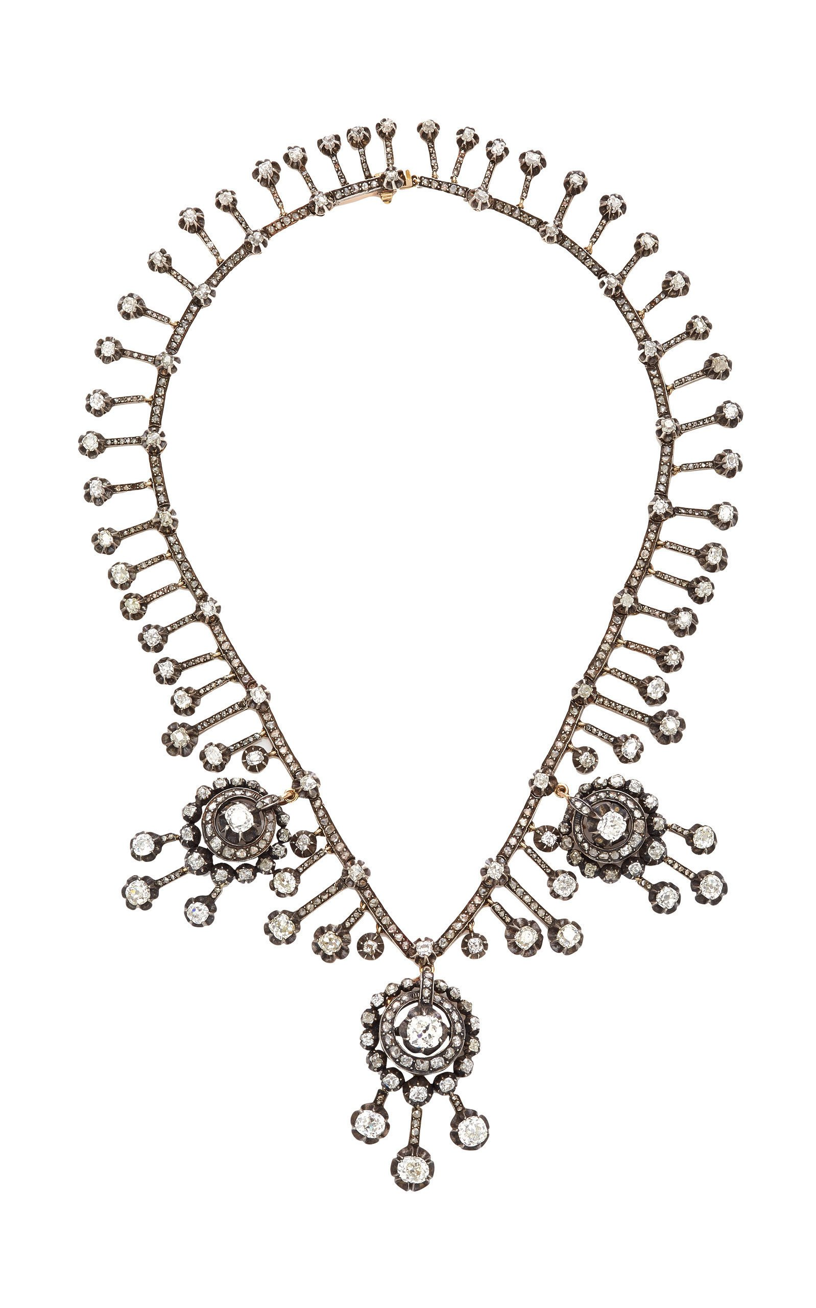 Royal Collection- Antique White Gold Diamond Necklace