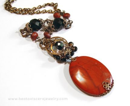 Red and Black Necklace - Vintage-Style Neo-Victorian Jewelry with Red Jasper & Black Crystal - CraftStylish