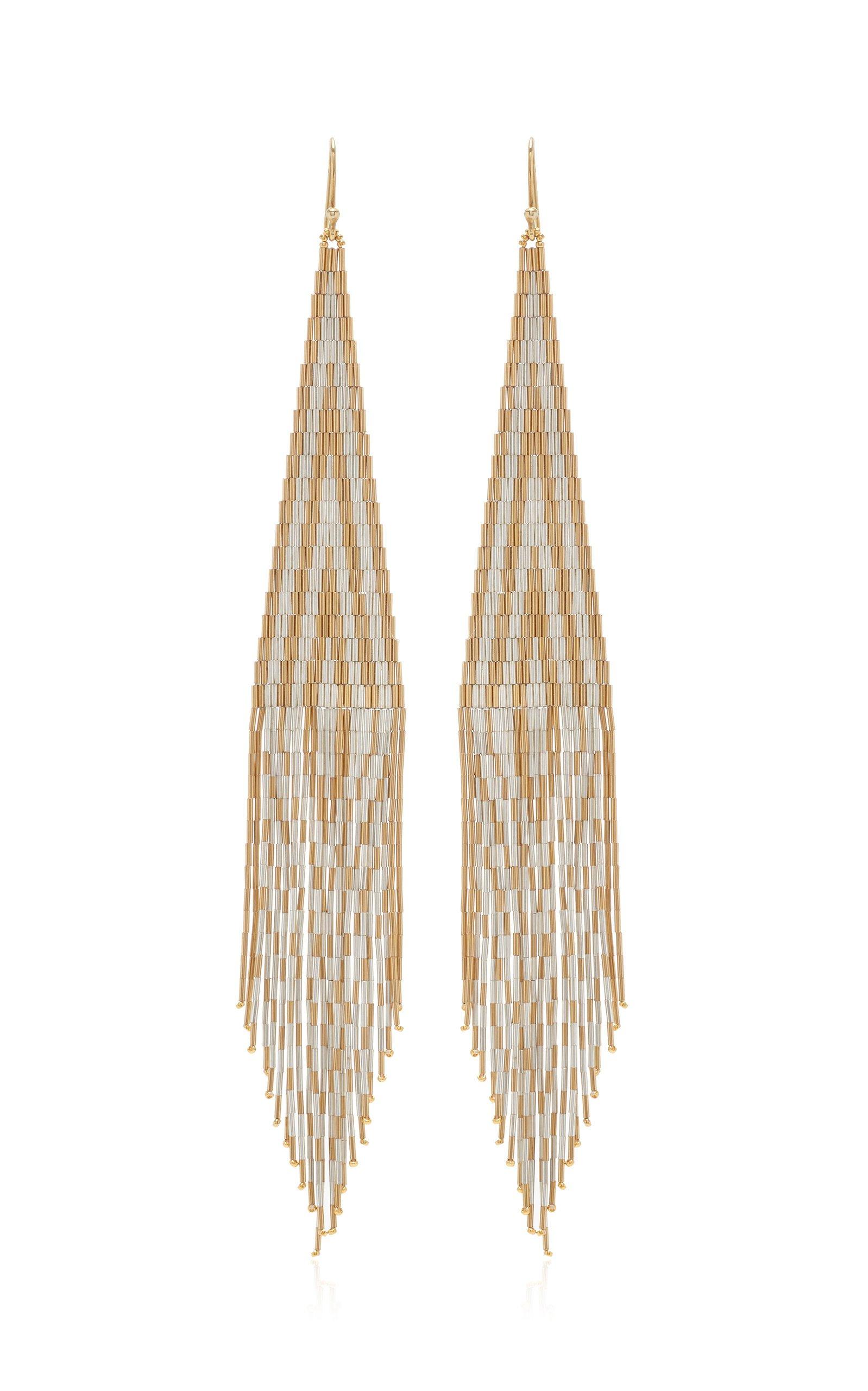 Lisa Eisner 14K Gold and Silver Fringe Earrings