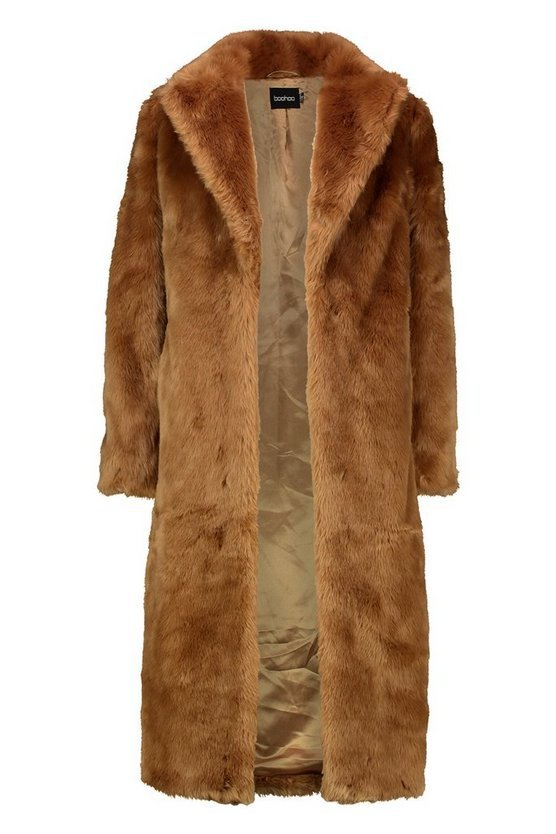 Luxe Faux Fur Longline Coat | Boohoo brown