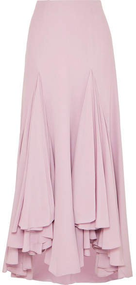 Waterfall Ruffled Asymmetric Silk-crepe Skirt - Pink