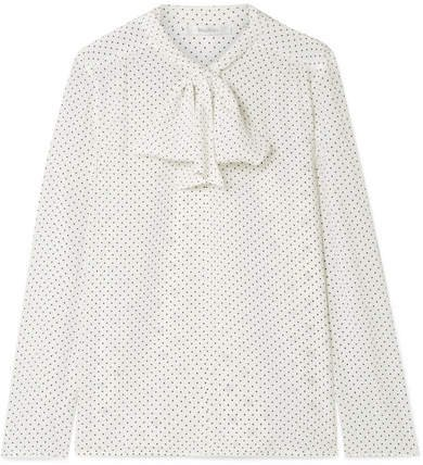 Polka-dot Silk Crepe De Chine And Stretch-jersey Blouse - White