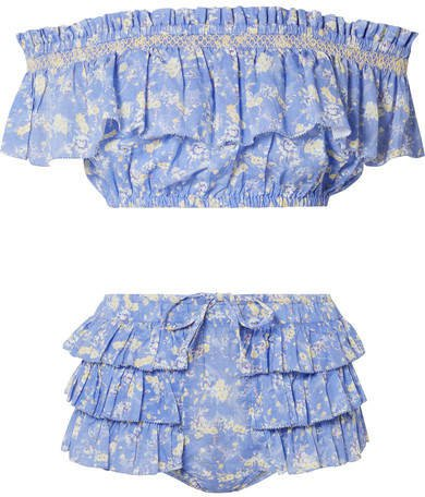 Magnolia Off-the-shoulder Ruffled Floral-print Cotton-voile Bikini - Light blue