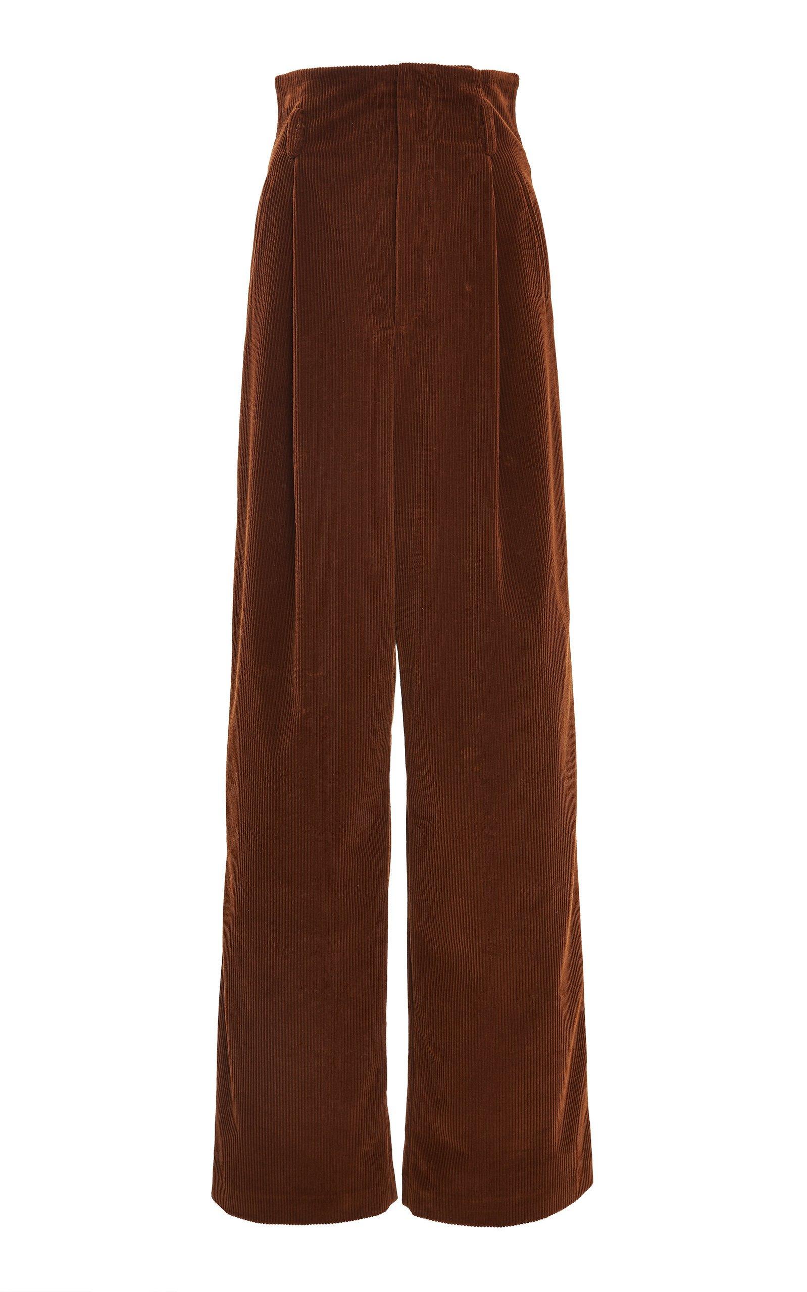 Alberta Ferretti Cotton-Corduroy Wide-Leg Pants Size: 42