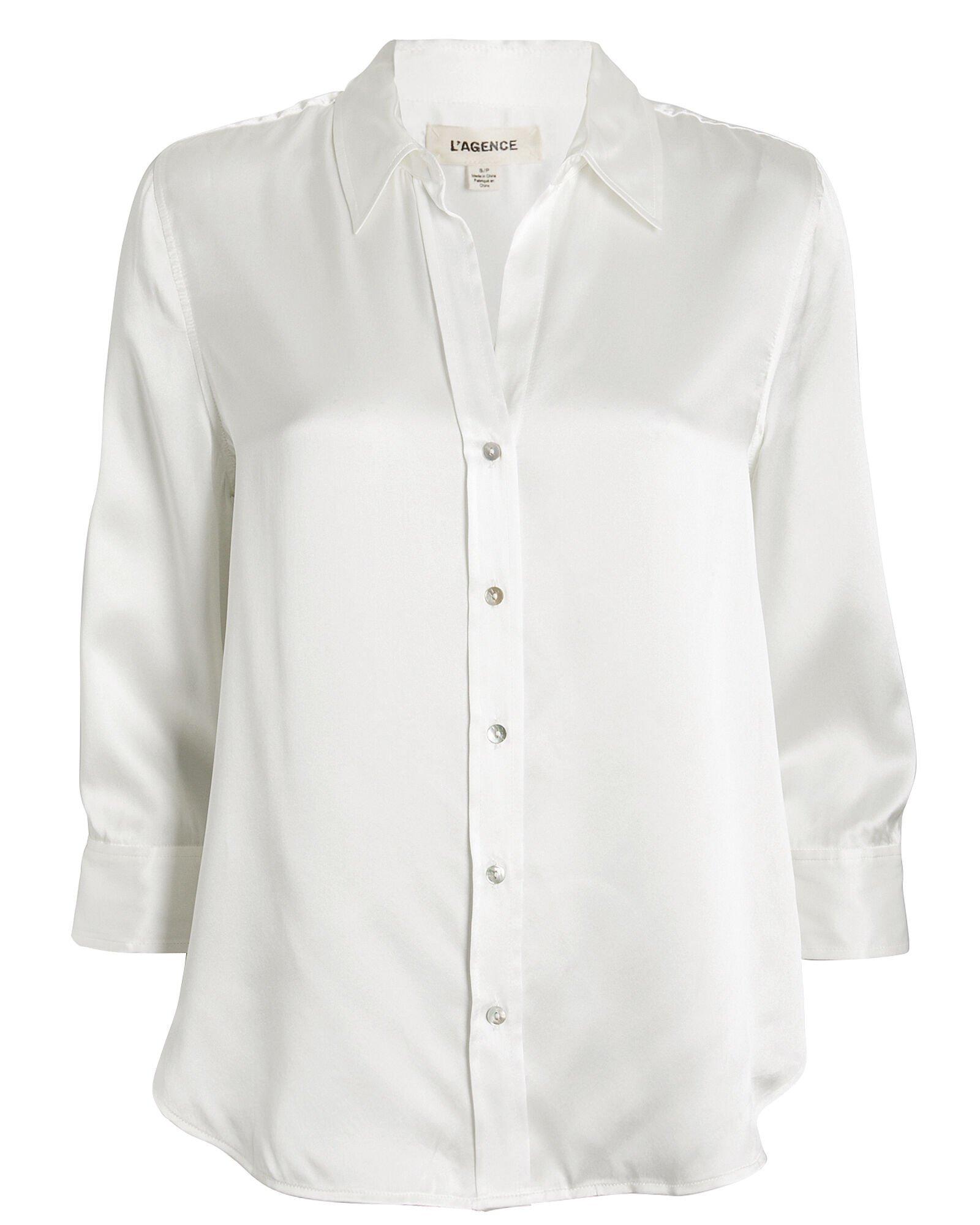 L'Agence   Dani Silk Button Front Blouse   INTERMIX®