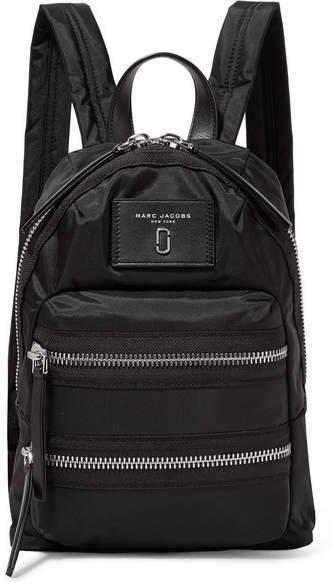 Biker Mini Leather-trimmed Shell Backpack - Black