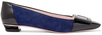 Belle Vivier Patent-leather And Suede Ballet Flats - Navy