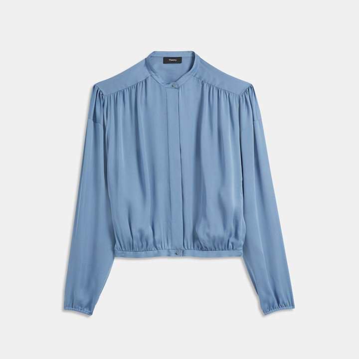 Light Charmeuse Shirred Yoke Shirt