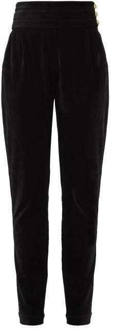 High Rise Velvet Trousers - Womens - Black