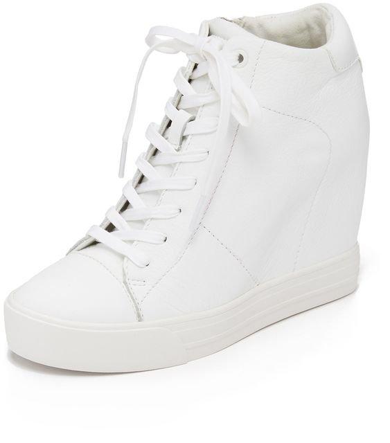 white wedge sneakers