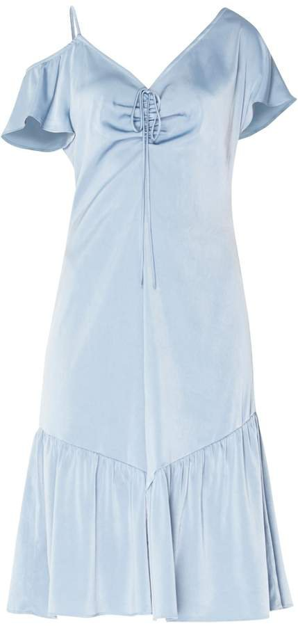 PAISIE - V-Neck Asymmetric Shoulder Dress With Gathered Detail In Metallic Blue
