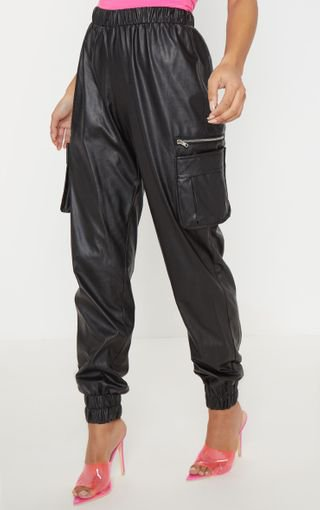 Black Cargo Jogger   Trousers   PrettyLittleThing