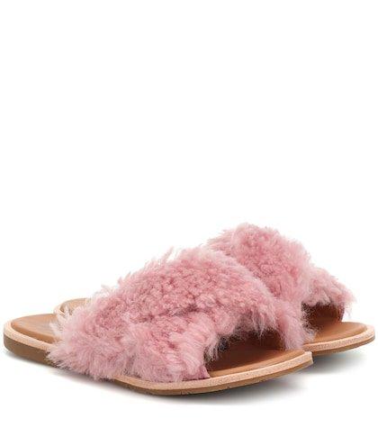 Joni fur and leather slides