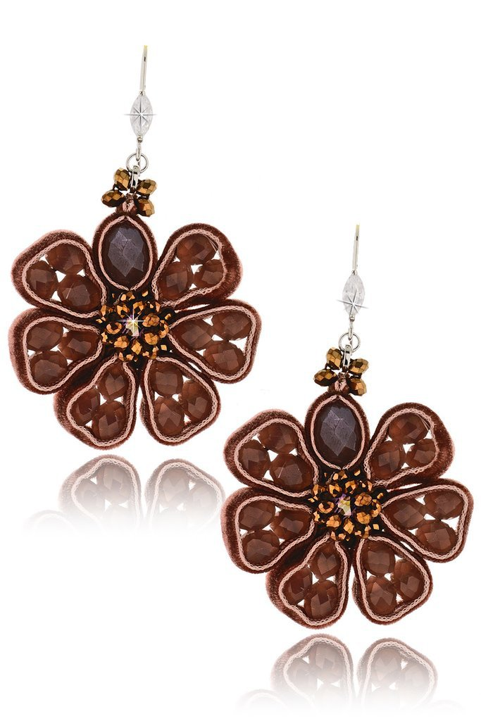 VANITY HER VELLUTO Brown Beaded Earrings – PRET-A-BEAUTE.COM