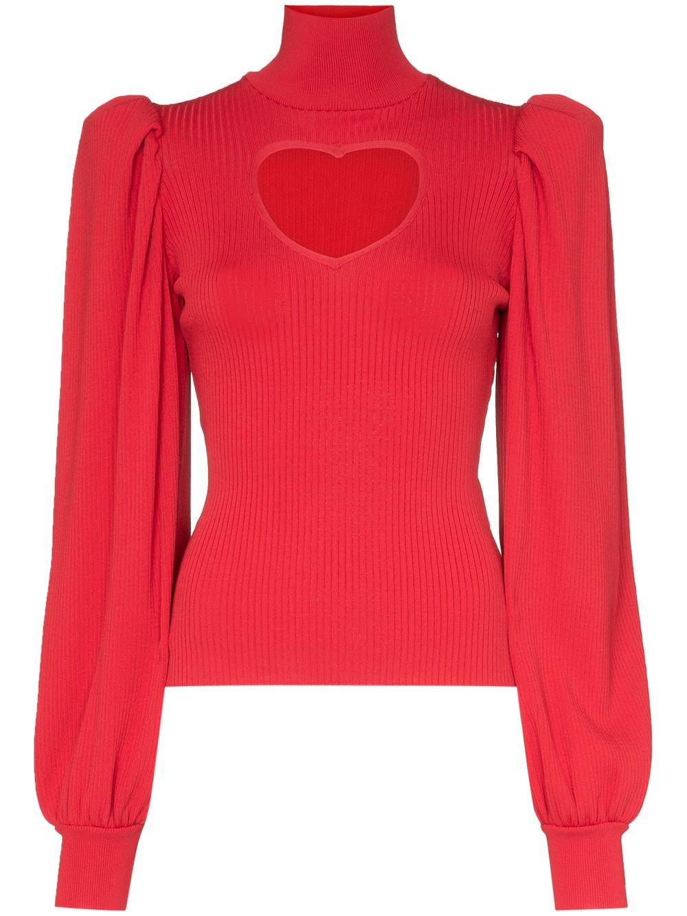 Msgm Heart Cutout Knitted Jumper