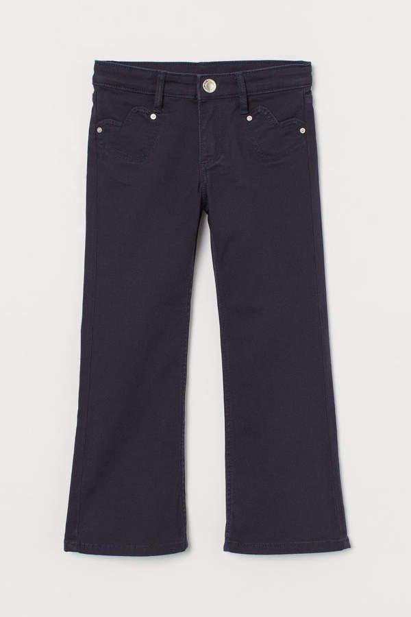 Flared Twill Pants - Blue