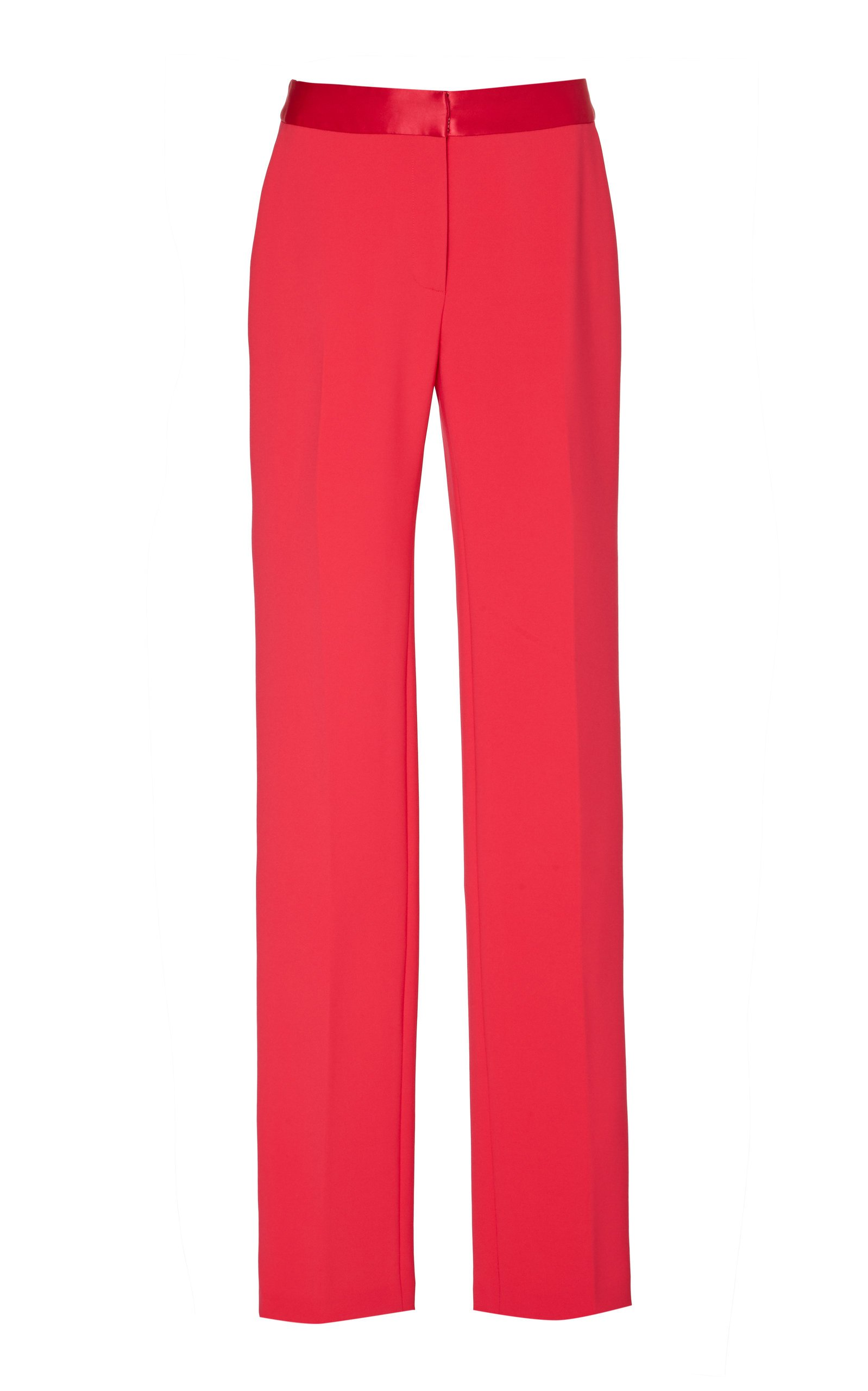Satin-Trimmed Cady Straight-Leg Pants by Carolina Herrera | Moda Operandi
