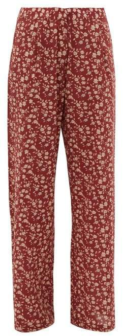 Hattie Floral Print Wide Leg Trousers - Womens - Red Multi