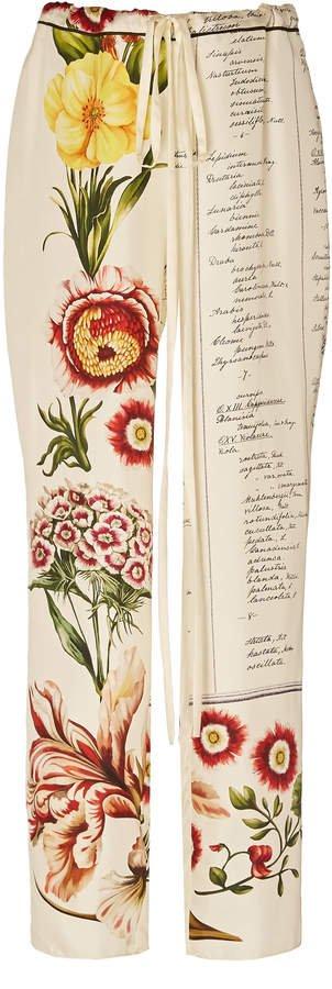 Patterned Silk Wide-Leg Pants