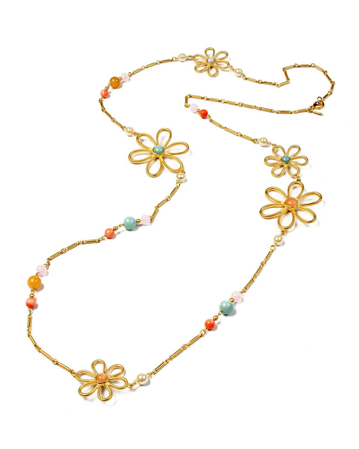 Ben-Amun Hippie Flower & Bead Long Necklace