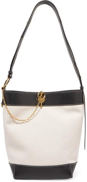Keyts Leather-trimmed Canvas Tote - Beige