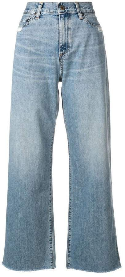 high waisted wide-leg jeans