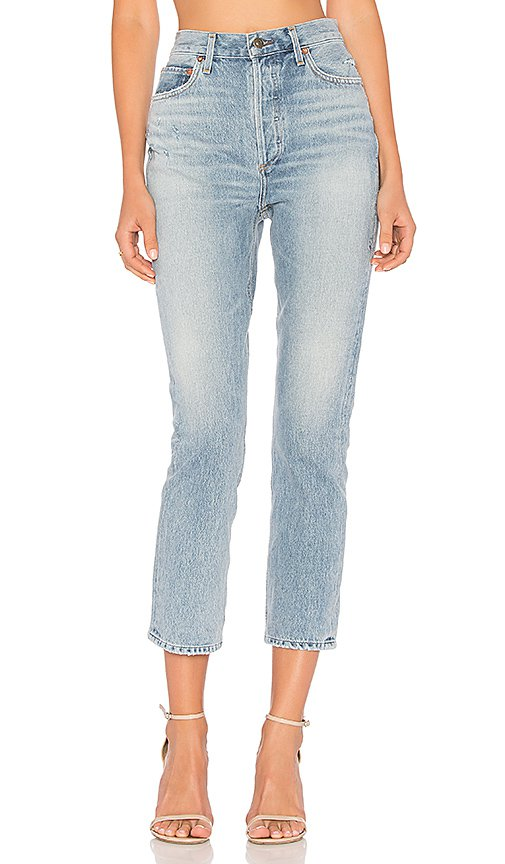 AGOLDE Riley High Rise Straight Crop in Blue Rock   REVOLVE