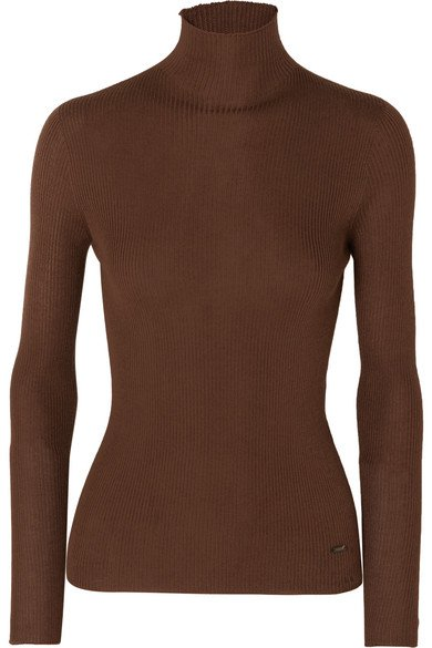 Akris | Ribbed cashmere and mulberry silk-blend turtleneck sweater | NET-A-PORTER.COM