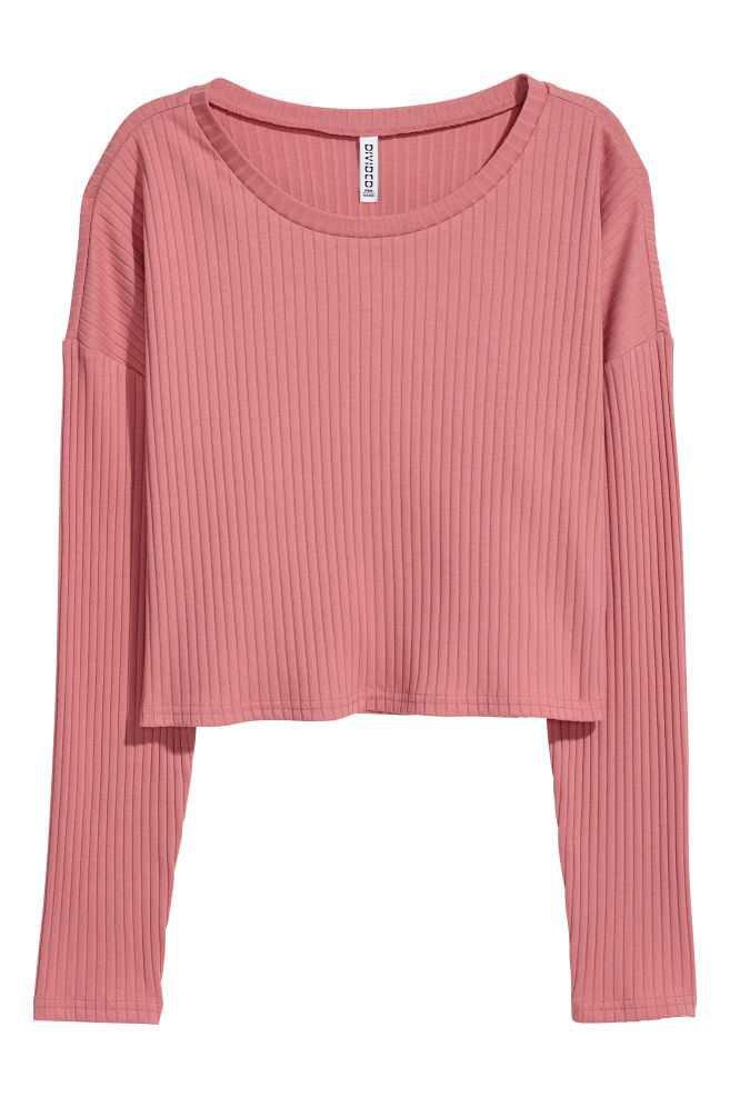 Ribbed Jersey Top - Vintage pink   H&M US