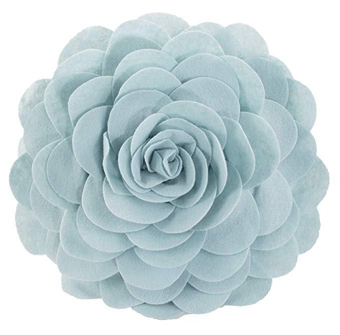 Light Blue Rose Throw Pillow