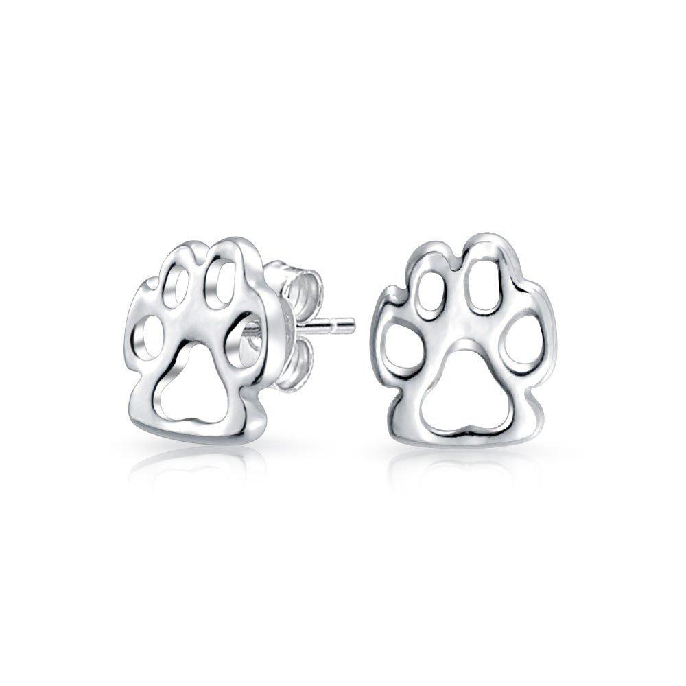 925 Sterling Silver Fox Paw Print Animal Stud Earrings Petite