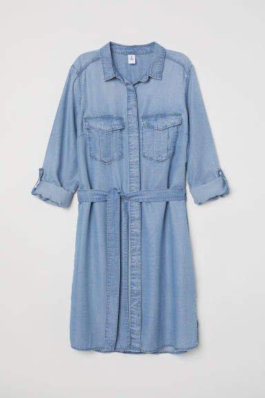 Denim Shirt Dress - Blue