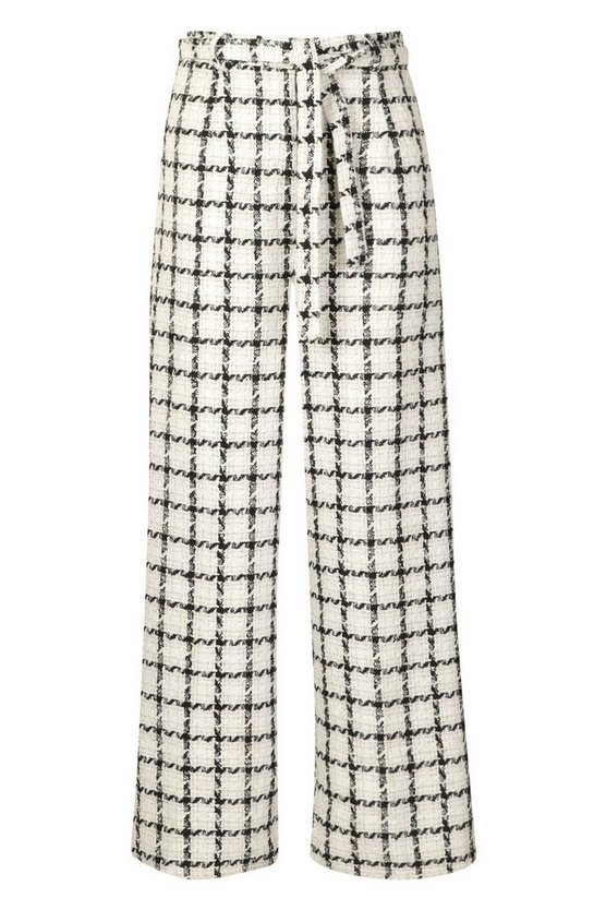Plus High Waisted Belted Wide Leg Trouser | Boohoo black white