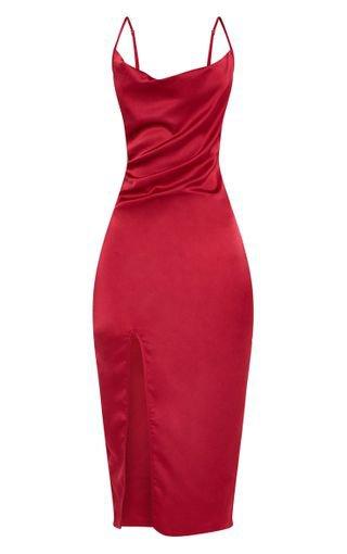 Burgundy Strappy Satin Cowl Midi Dress | PrettyLittleThing