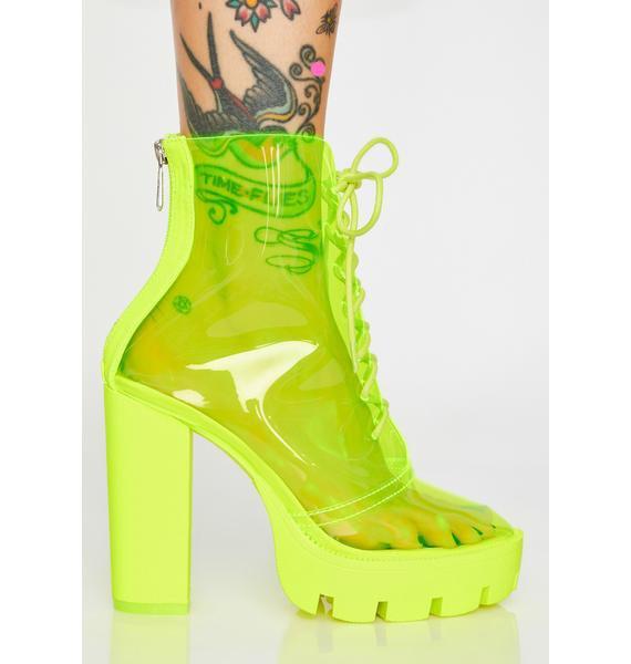 Platform Heels Lace Up Boots Transparent PVC Yellow Clear | Dolls Kill