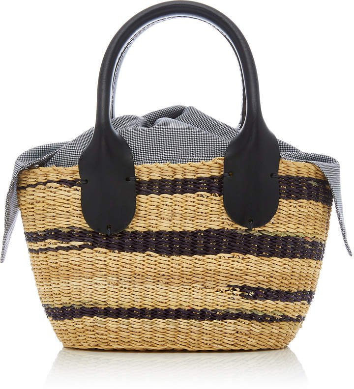 Galet Mini Leather-Trimmed Straw Tote