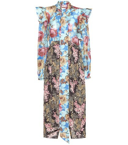 Pleated floral-printed silk dress